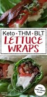 "photo collage of lettuce wrap with cream cheese, bacon, sprouts, and tomatoes with text overlay: ""Keto BLT Lettuce Wraps"""