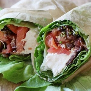 lettuce wrap with cream cheese, bacon, sprouts, and tomatoes
