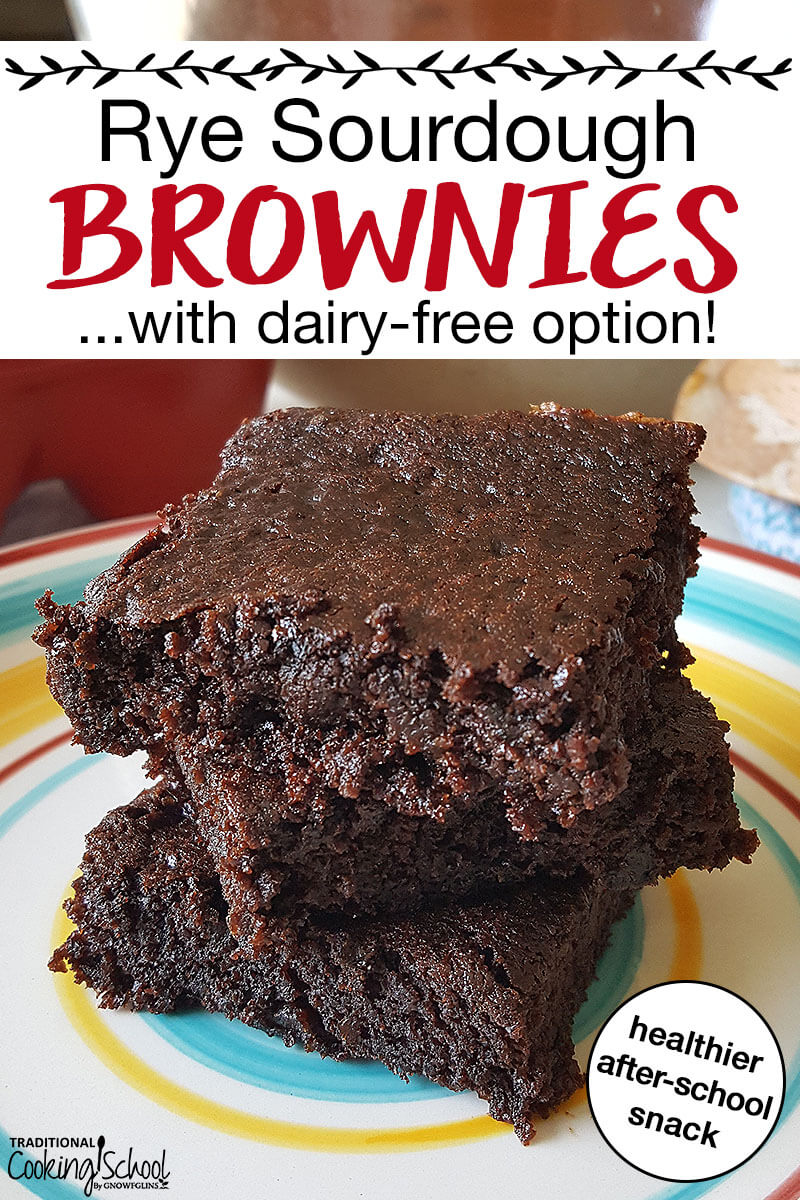 "three fudgey sourdough brownies stacked on a colorful plate with text overlay: ""Rye Sourdough Brownies...with dairy-free option!"""