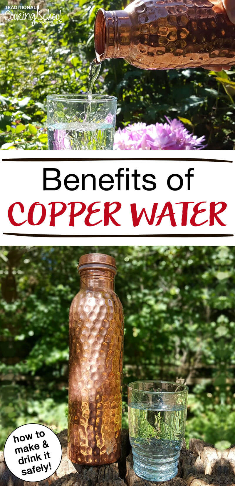 """photo collage of copper water bottle next to a glass jar of water outside with text overlay: """"Benefits of Copper Water"""""""
