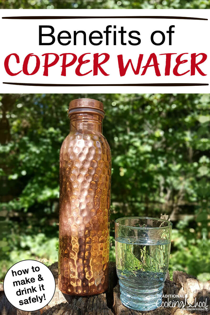 "hammered copper water bottle outside on a tree stump with a glass of water next to it with text overlay: ""Benefits of Copper Water"""