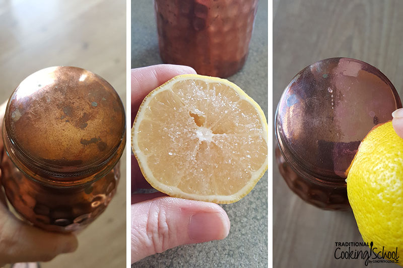 photo collage of how to clean the patina off a copper water bottle using a lemon and some salt