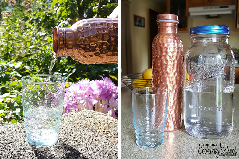 photo collage of a copper water bottle, glass of water, and a large mason jar of water