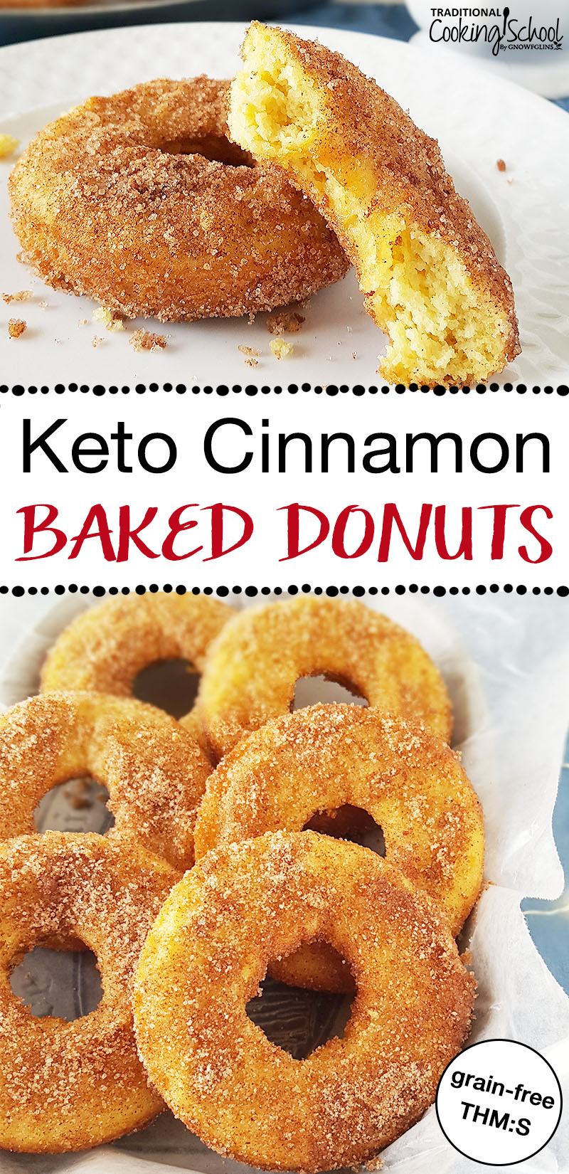 "Two images of stacks of donuts on a plate with a crispy sugary topping and text overlay: ""Keto Baked Cinnamon Donuts"""