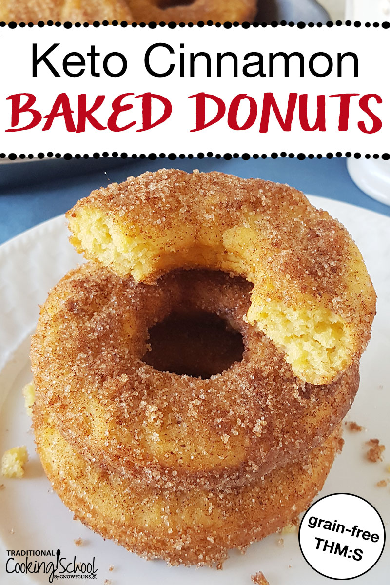 "stack of donuts on a plate with a crispy sugary topping and text overlay: ""Keto Baked Cinnamon Donuts"""