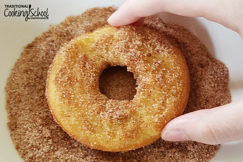 baked donut rolled in cinnamon and sugar