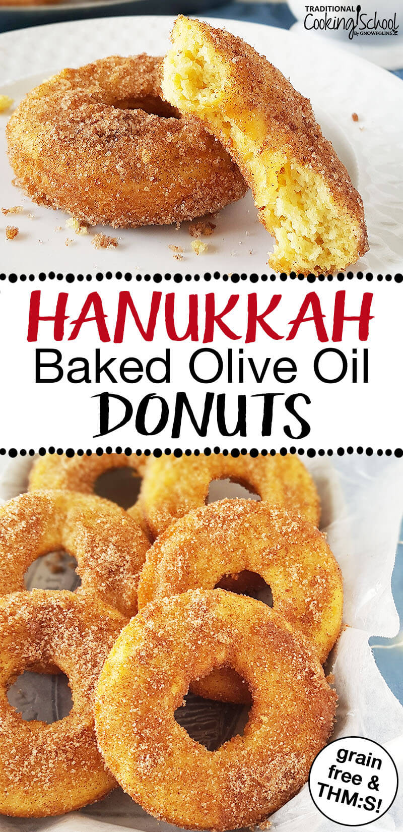 "photo collage of baked donuts with crispy sugary topping and text overlay: ""Hanukkah Baked Olive Oil Donuts"""