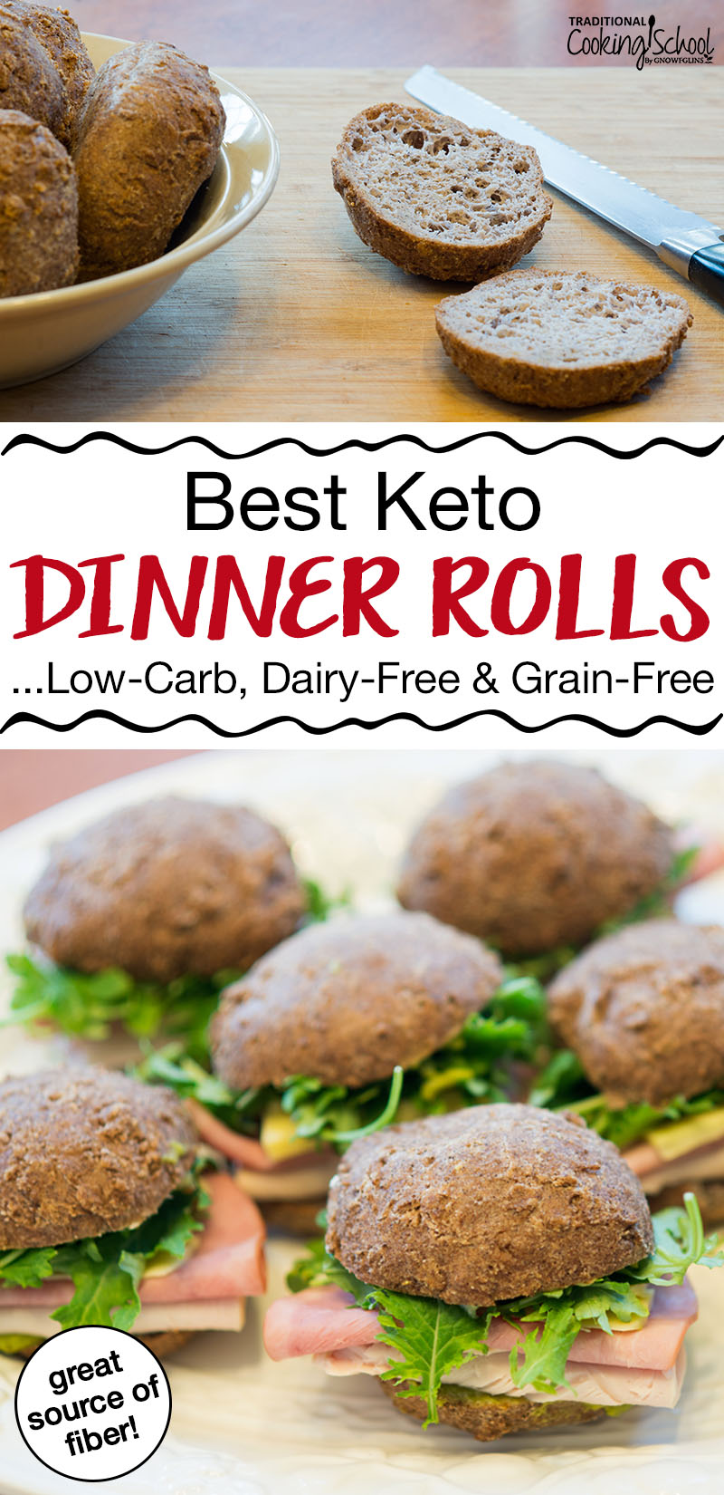 "photo collage of small rolls turned into mini sandwiches with text overlay: ""Best Keto Dinner Rolls...Low-Carb, Dairy-Free & Grain-Free"""