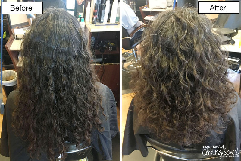 before and after shot of a woman with dark curly hair getting her hair cut