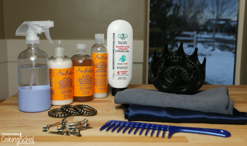 photo of natural products and tools that work for curly hair care