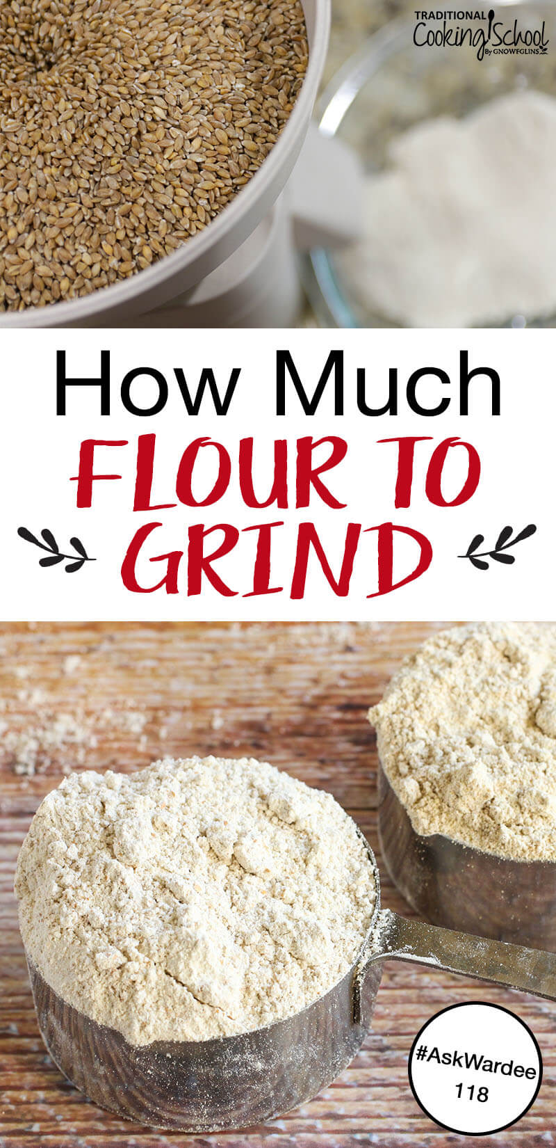 """photo collage of turning wheat berries into freshly-ground flour, with text overlay: """"How Much Flour To Grind"""""""