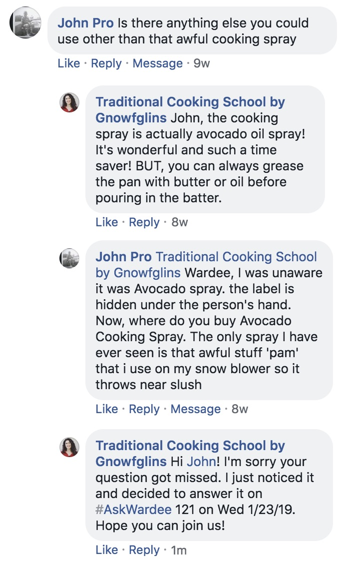screenshot of a Facebook conversation where a man asks if there are cooking spray alternatives to Pam