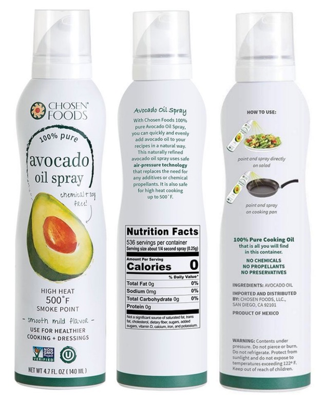 screenshot of avocado oil spray from Chosen Foods brand