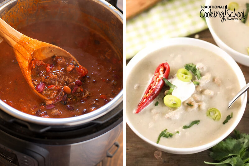 photo collage of two chilis made in the Instant Pot