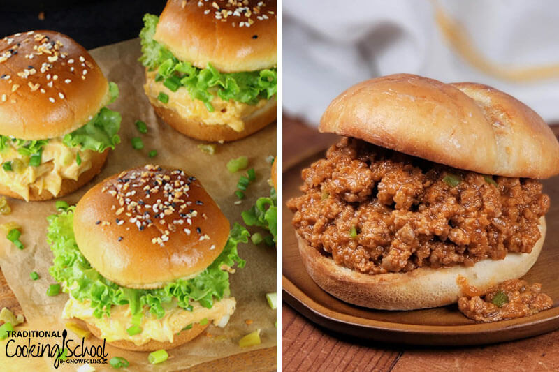 photo collage of hamburger buns with chicken popper sauce and lettuce, and sloppy joes in a bun