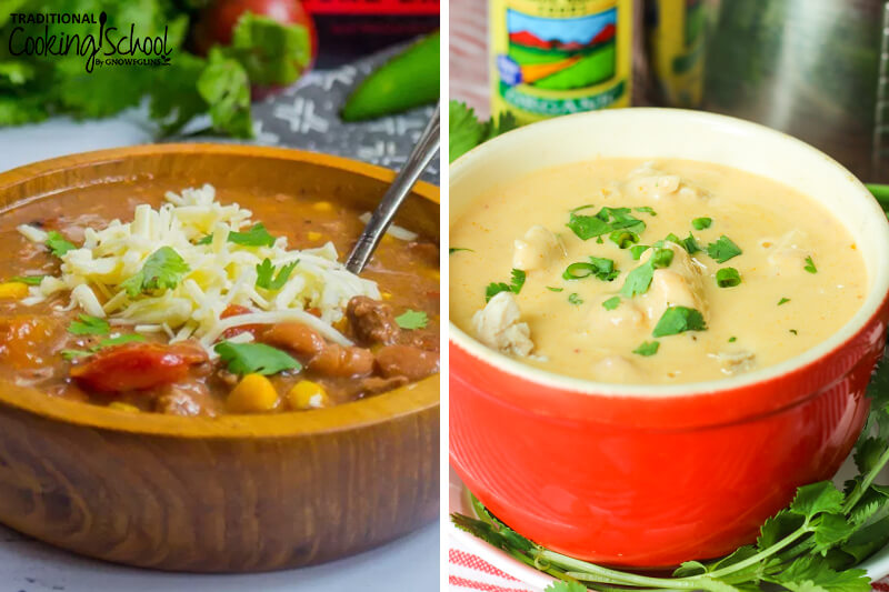 photo collage of two soups made in the Instant Pot
