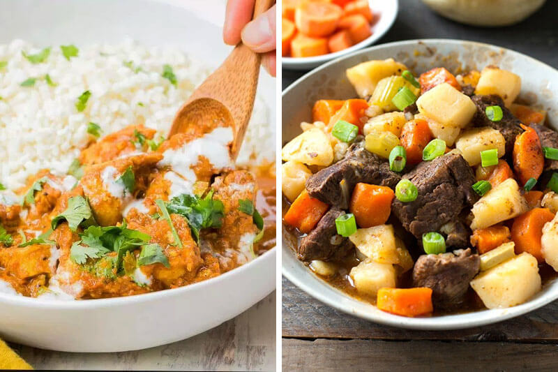 photo collage of two stews made in the Instant Pot