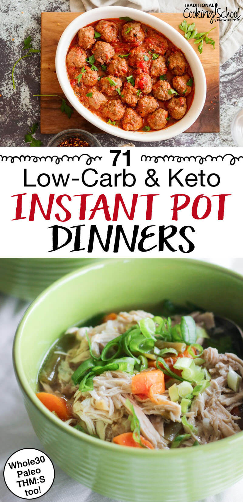 "photo collage of delicious low-carb dinners with text overlay: ""71 Low-Carb & Keto Instant Pot Dinners"""