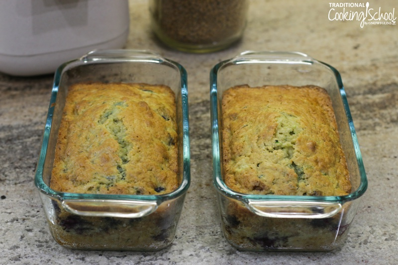 2 loaves of blueberry zucchini bread