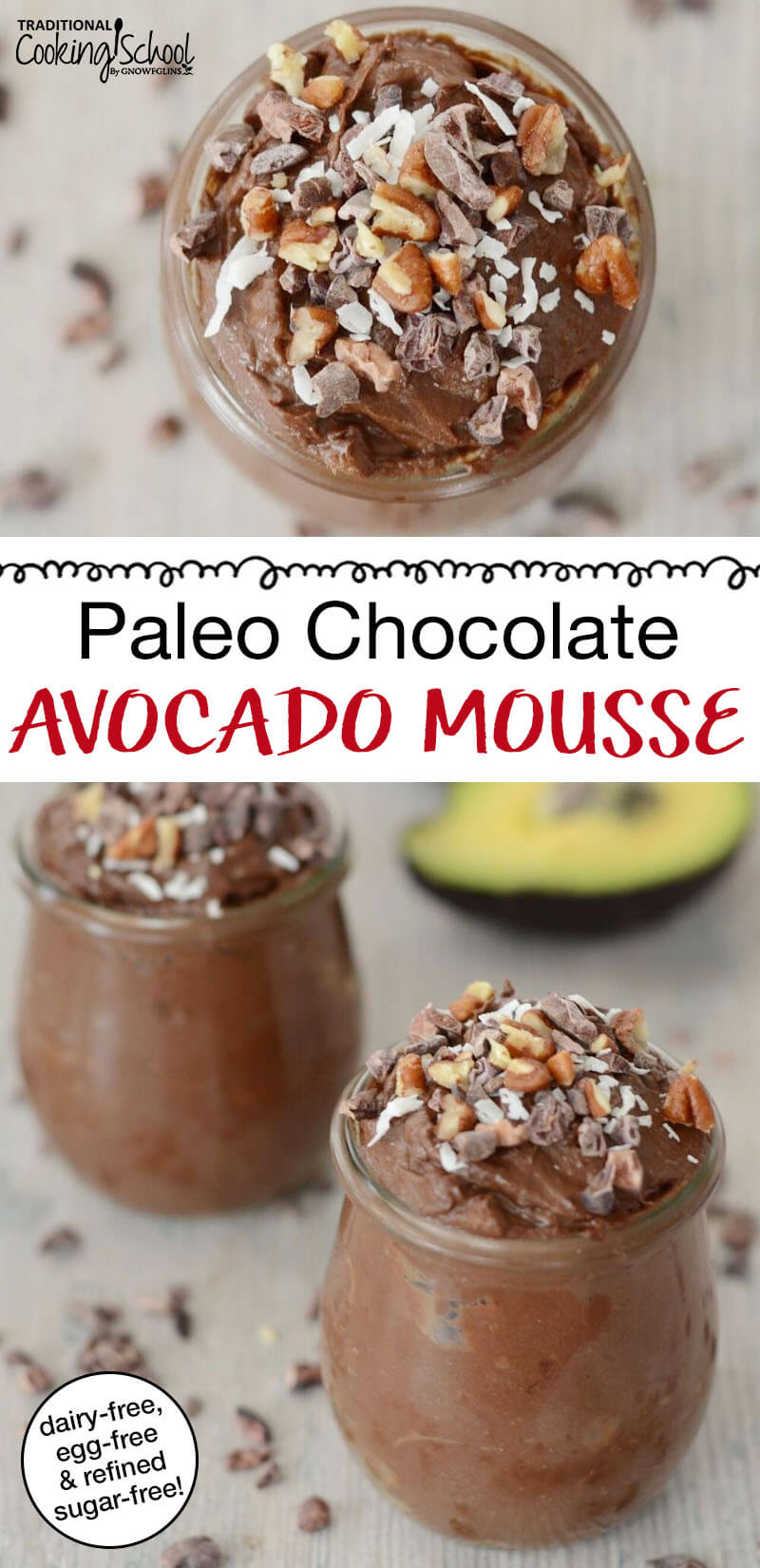 "photo collage of chocolate mousse garnished with chopped pecans, shredded coconut, and cacao nibs, with text overlay: ""Paleo Chocolate Avocado Mousse"""