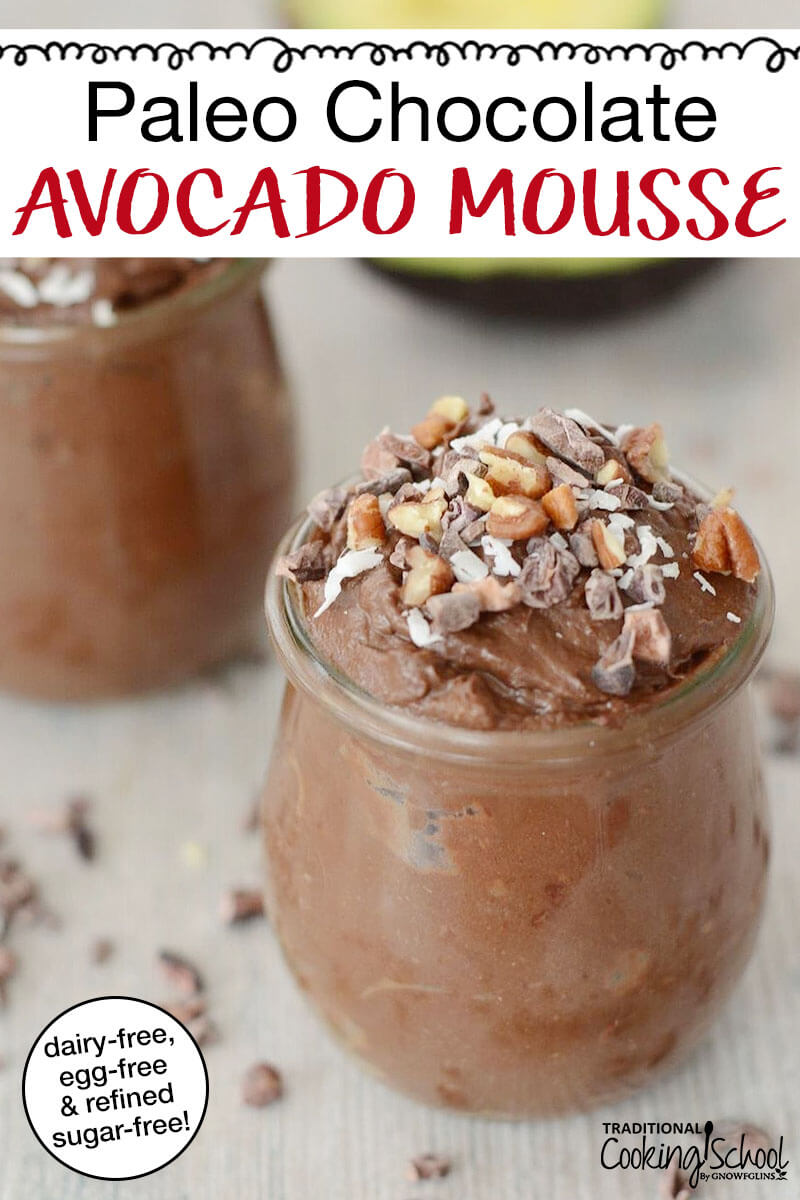 "small glass cup of chocolate mousse garnished with chopped pecans, cacao nibs, and shredded coconut, with text overlay: ""Paleo Chocolate Avocado Mousse"""