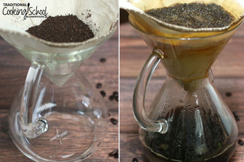 photo collage of how to brew coffee in a Chemex coffee maker