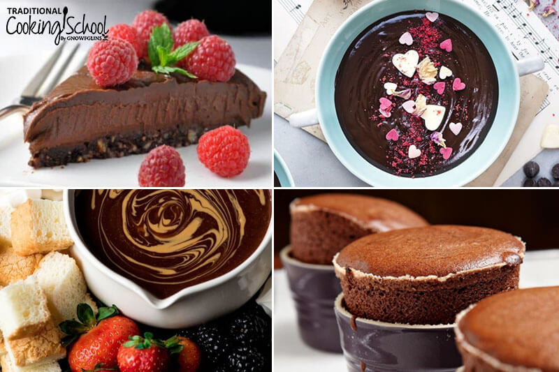 photo collage of romantic desserts including chocolate cheesecake and peanut butter chocolate fondue