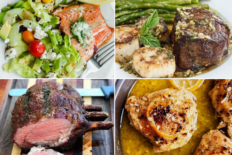 photo collage of romantic dinners including steak, salmon, and asparagus