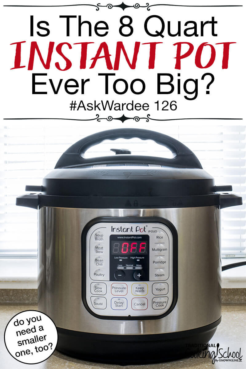 "8 quart Instant Pot DUO on a kitchen counter to demonstrate a model comparison of the different Instant Pot sizes, with text overlay: ""Is The 8 Quart Instant Pot Ever Too Big?"""
