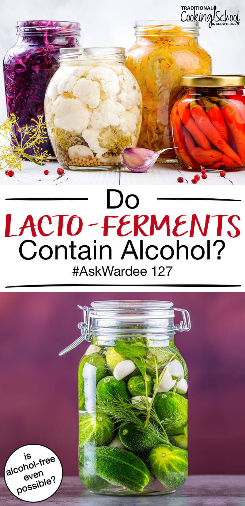 "photo collage of large jars of fermented foods, including sauerkraut and pickles, with text overlay: ""Do Lacto-Ferments Contain Alcohol? #AskWardee 127 (is alcohol-free even possible?)"""