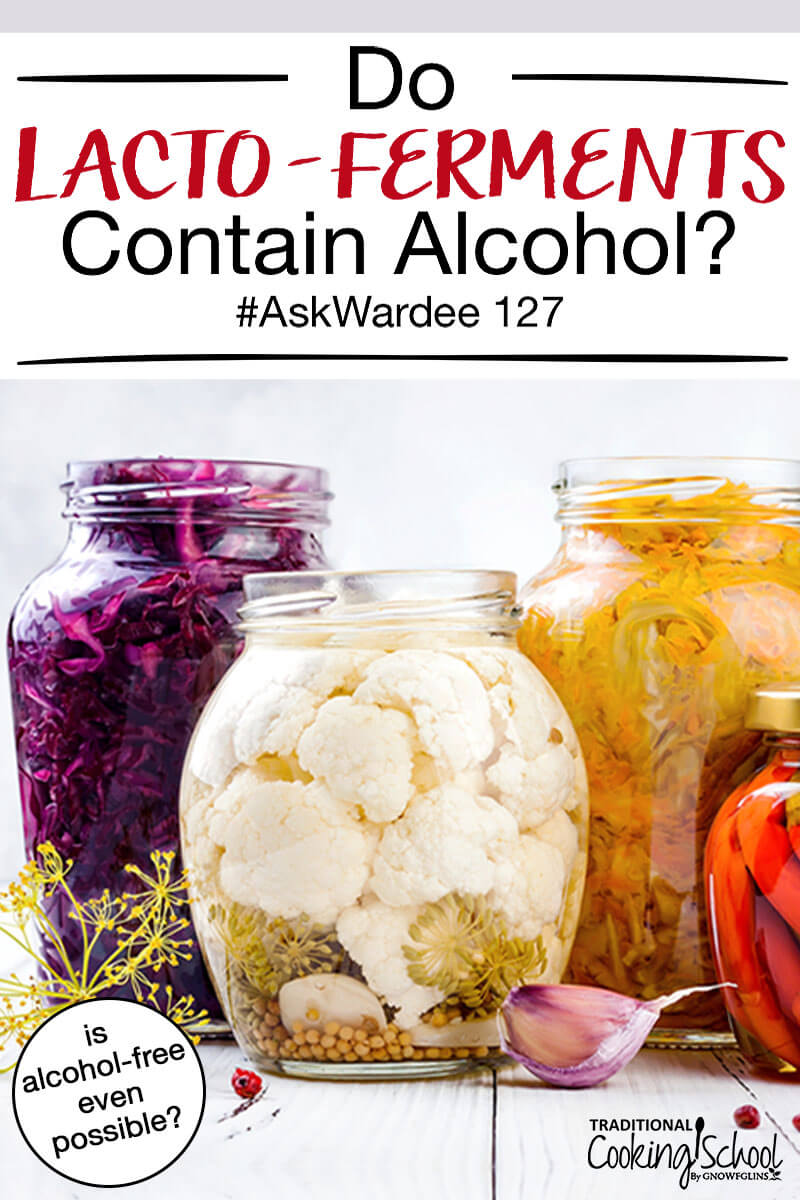 "several large glass jars of fermented foods, including sauerkraut and cauliflower, with text overlay: ""Do Lacto-Ferments Contain Alcohol #AskWardee 127 (is alcohol-free even possible?)"""
