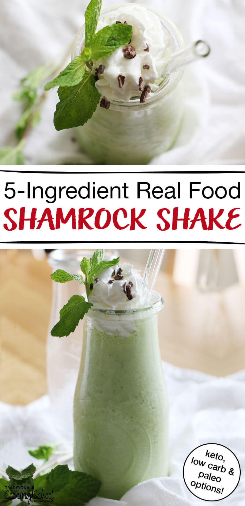 "photo collage of McDonald's inspired Shamrock Shake garnished with whipped cream, cacao nibs, and mint, with text overlay: ""5-Ingredient Real Food Shamrock Shake (Keto, Low Carb, & Paleo options!)"""