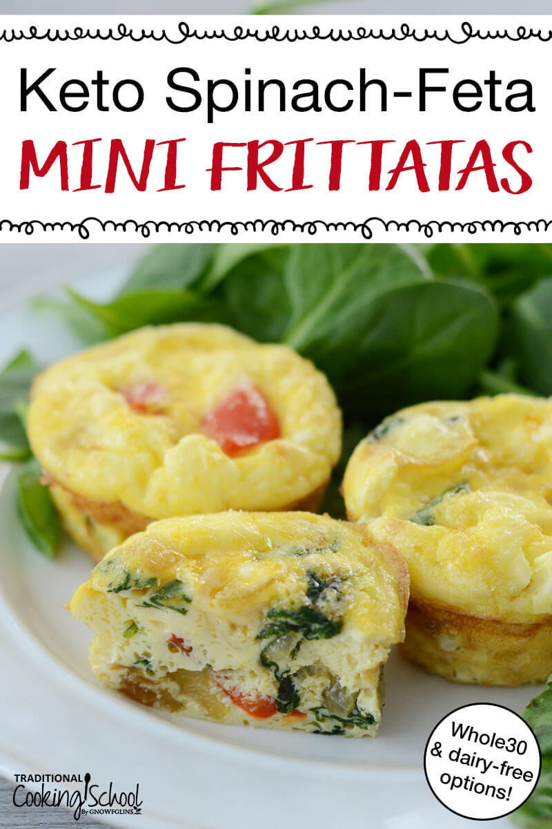 "three mini frittatas on a plate, spinach and bell peppers visible inside, with text overlay: ""Keto Spinach-Feta Mini Frittatas (Whole30 & dairy-free options!)"""
