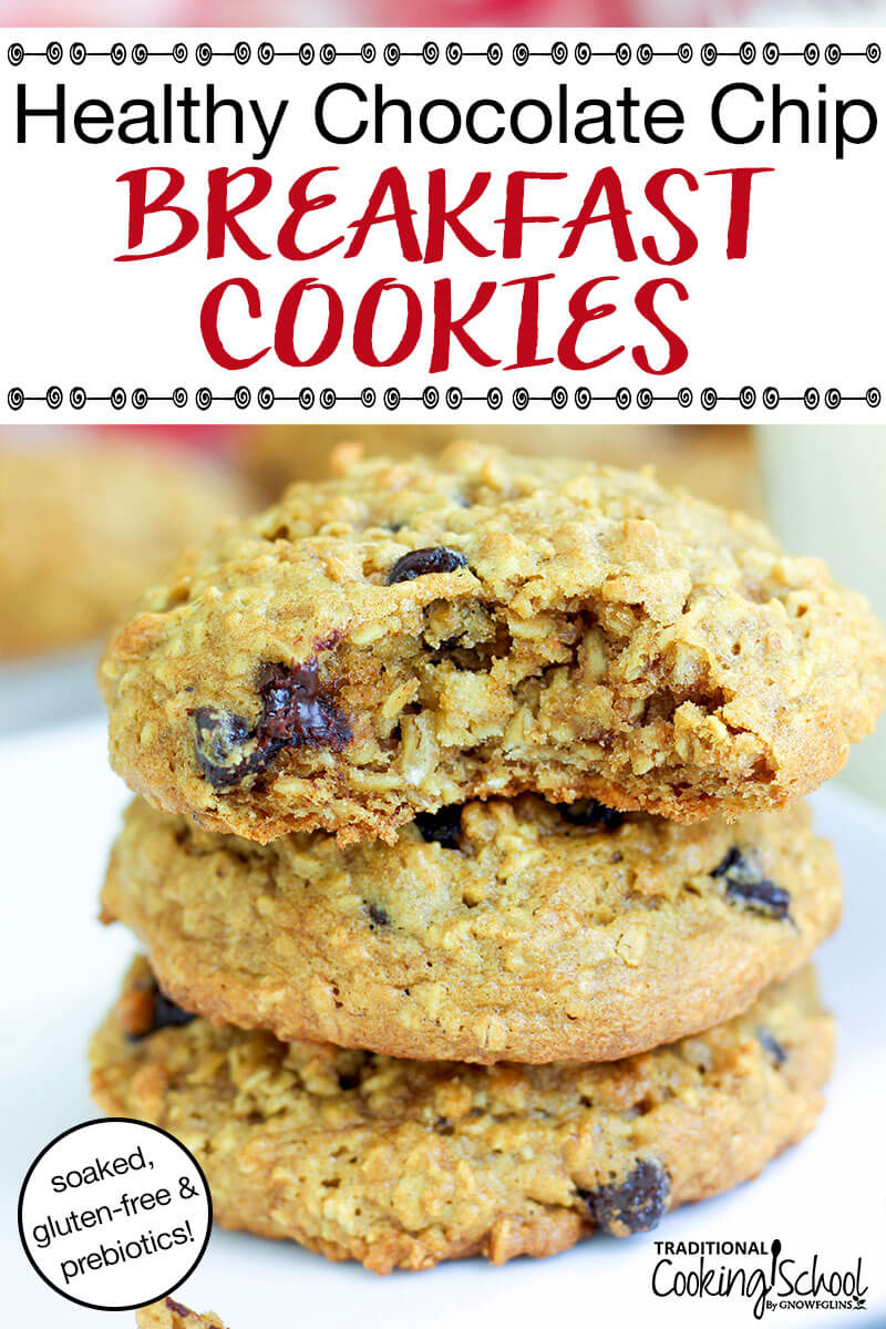 "stack of three chocolate chip oatmeal breakfast cookies with text overlay: ""Healthy Chocolate Chip Breakfast Cookies (soaked, gluten-free, & prebiotics!)"""