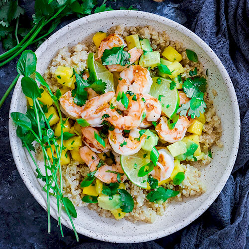 Easy Grilled Shrimp With Mango Salsa & Soaked Quinoa