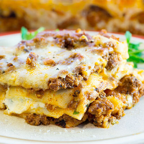 slice of classic, homemade lasagna with ricotta cheese