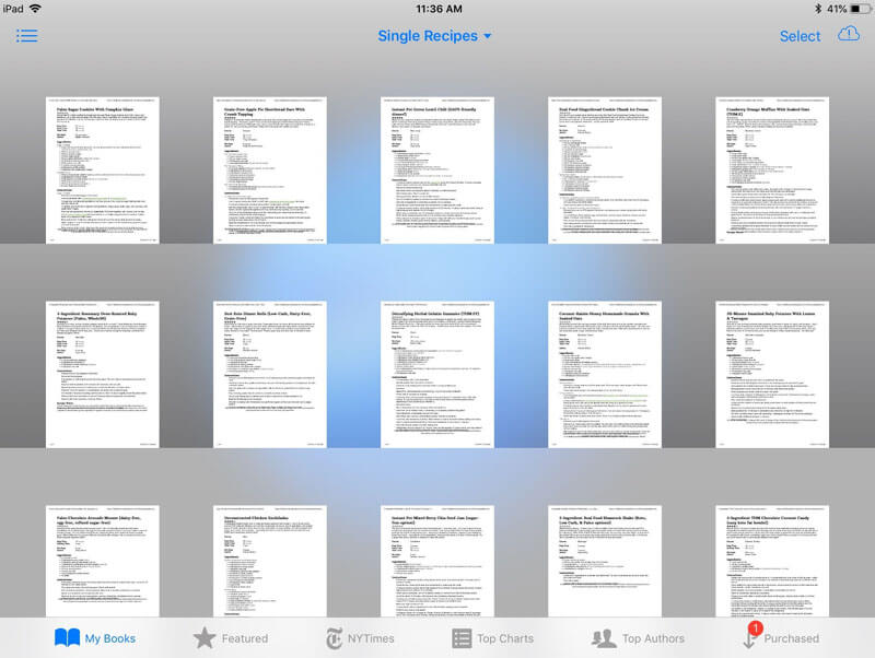 "iPad screenshot of many different recipe PDFs in an iBooks folder called ""Single Recipes"""