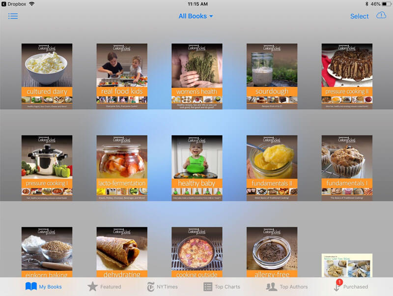 iPad screenshot of many different Traditional Cooking School eBooks, including Pressure Cooking, Cultured Dairy, Sourdough, and Lacto-Fermentation