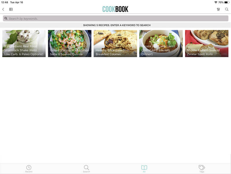 iPad screenshot of Cookbook recipe app showing five different recipes, including Real Food Shamrock Shake and Middle Eastern Soaked Za'atar Rolls