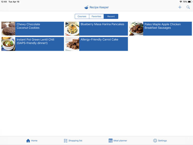 iPad screenshot of the Recipe Keeper recipe manager app showing five different delicious recipes, including Chewy Chocolate Coconut Cookies and Allergy-Friendly Carrot Cake