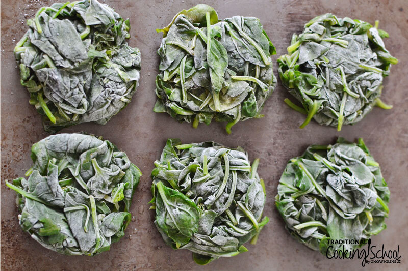 "six ""pucks"" of spinach greens that have been steamed then frozen on parchment paper"