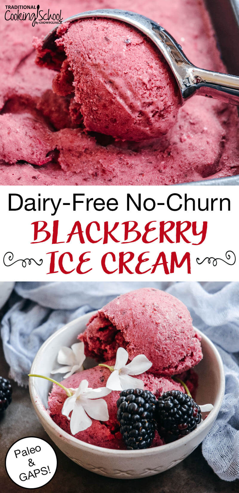 "photo collage of homemade ice cream, pink-colored and topped with blackberries and blackberry blossoms, with text overlay: ""Dairy-Free No-Churn Blackberry Ice Cream (Paleo, GAPS)"""