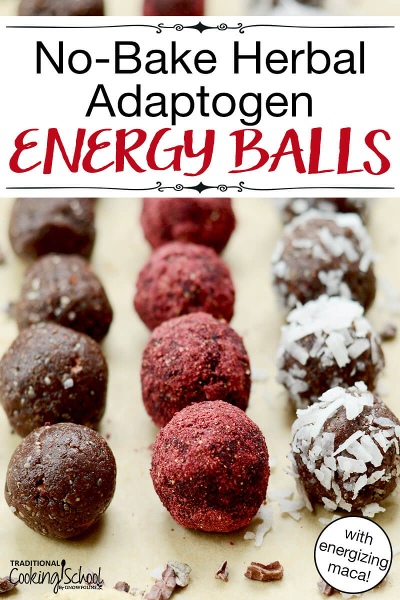 """three kinds (plain, coated in berry powder, coated in shredded coconut) of no bake balls arranged in rows, with text overlay: """"No-Bake Herbal Adaptogen Energy Balls (with energizing maca!)"""""""