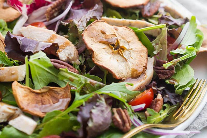 close up shot of a homemade Fuji apple salad like the one sold at Panera
