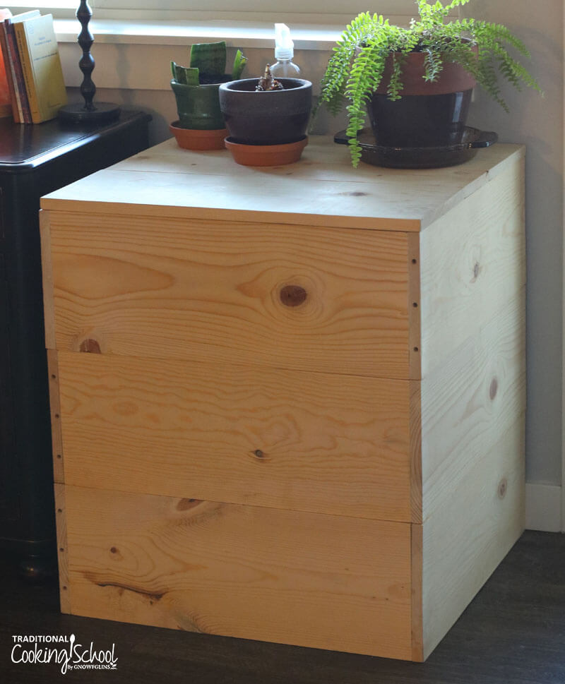 3 tier stacking worm bin in a living room, with potted plants arranged on the lid