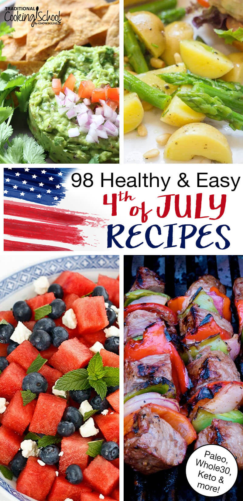 """photo collage of patriotic food, including a cheesecake decorated with berries in the shape of a flag, shish kabobs, fruit salad, and more; with text overlay: """"98 Healthy & Easy 4th of July Recipes (Paleo, Whole30, Keto & more!)"""""""