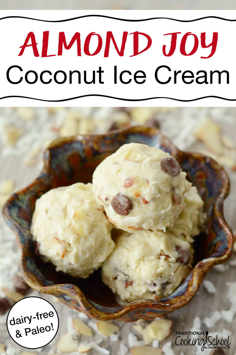 "scoops of homemade ice cream with slivered almonds, toasted coconut, and chocolate chips in a brown ceramic bowl with text overlay: ""Almond Joy Coconut Ice Cream (dairy-free & Paleo!)"""