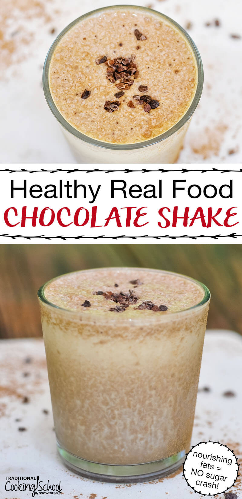 "photo collage of homemade chocolate milkshake garnished with a pinch of cacao nibs, with text overlay ""Healthy Real Food Chocolate Shake (nourishing fats = NO sugar crash!)"""