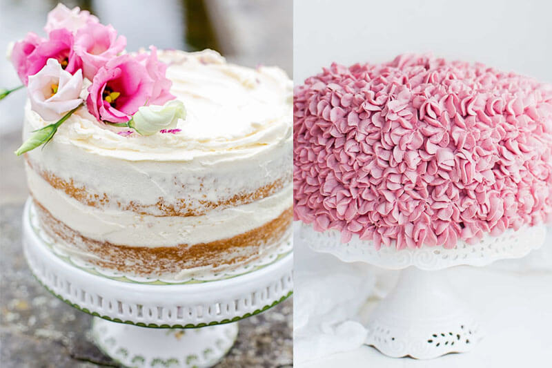 photo collage of beautiful cakes on white ceramic cake stands, one naked with white frosting between the layers and pink flowers on top, the other completely covered in pink frosting piped to look like clusters of blossoms