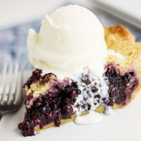 close-up shot of a slice of blueberry pie with a scoop of vanilla ice cream on top, slowly oozing over the edge and onto the plate below